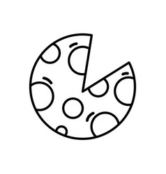 Line delicious slice of pizza food vector