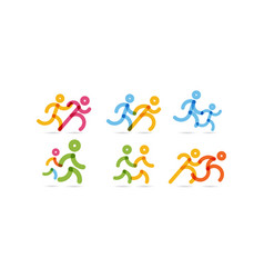 line running icons pair people simple vector image