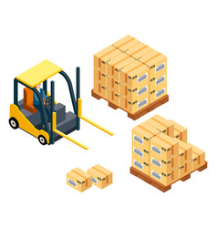 loading boxes forklift machine vehicle for vector image
