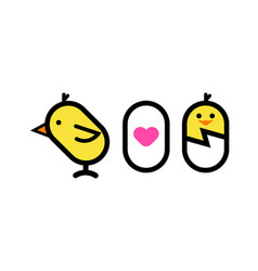 love to egg and chicken vector image