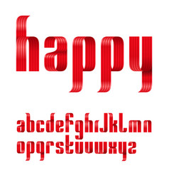 lowercase letters font from a red ribbon with vector image
