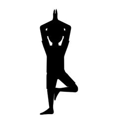 Man in yoga pose silhouette icon vector