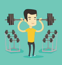 man lifting barbell vector image