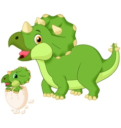 Mother triceratops with baby hatching vector image