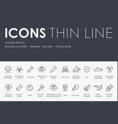 Nuclear weapon thin line icons vector