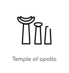 Outline temple apollo icon isolated black vector