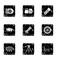 Photographic icons set grunge style vector