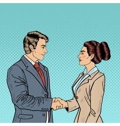 Pop Art Businessman and Business Woman Handshake vector image
