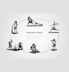 Prehistoric people - men and women aborigines vector