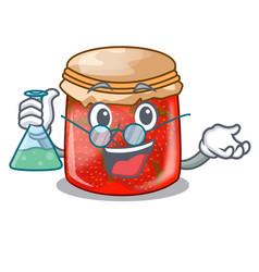 Professor strawberry marmalade in glass jar of vector