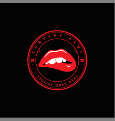 Red hot sexy sensual naughty woman girl lips logo vector