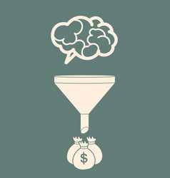 Sales funnel converting brains into money flat vector