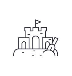sand castle line icon concept sand castle vector image