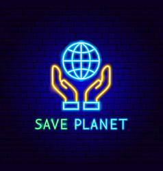 save planet neon label vector image