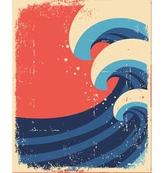 Sea waves postergrunge sea landscape vector