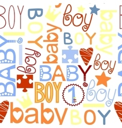 Seamless kids pattern with label Baby Boy vector