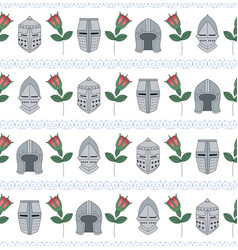 Seamless pattern with medieval helmets and roses vector