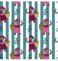 Seamless pattern with tea collector vector