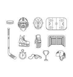 set hockey equipment and professional uniform vector image