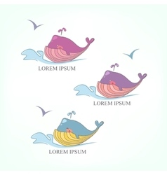 set of colored whales on the waves vector image