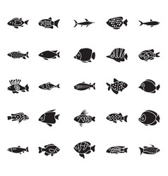 Set of fishes glyph icons vector
