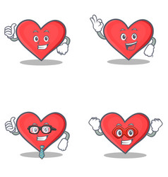 set of heart character with proud okay businessman vector image