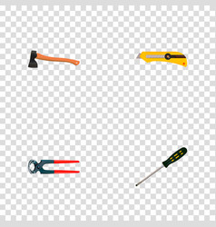 set of instruments realistic symbols with cutter vector image