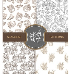 Set of seamless sketch autumn patterns vector