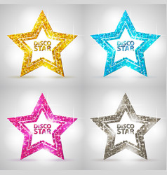 Set of silhouettes of gold disco star sign vector