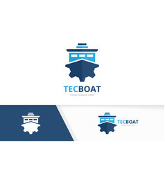 Ship and gear logo combination boat and vector