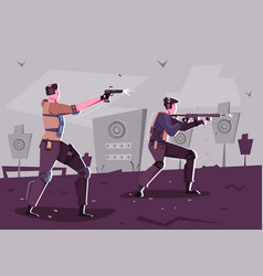 Shooting training flat composition vector
