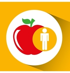 Silhouette man apple nutrition healthy vector