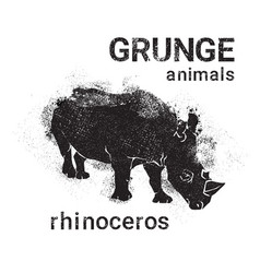 Silhouette rhino in grunge design style animal vector