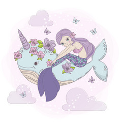 Sky mermaid sea princess dream cartoon illu vector