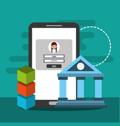Smartphone banking secure financial digital vector