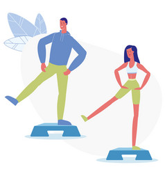 Step aerobic classes flat vector