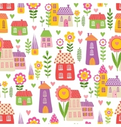 The pattern of the houses and plants vector