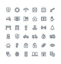 Thin line icons set with security cyber vector
