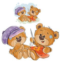 Two brown teddy bears vector