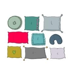 Types of sleeping pillows set vector