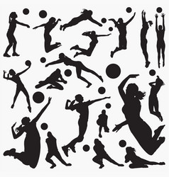 volley ball silhouettes vector image