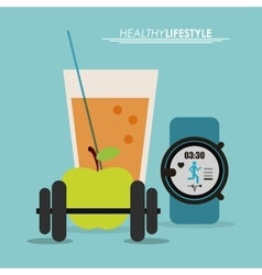 Watch juice and apple icon Healthy lifestyle vector