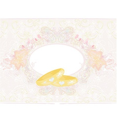wedding Invitation card with rings vector image vector image