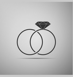 Wedding rings icon bride and groom jewelery sign vector