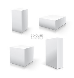 white cube set stock 3d vector image