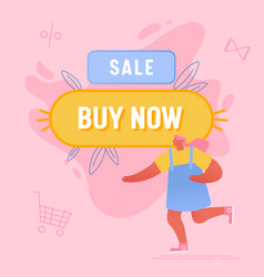 woman running near huge buy now button and vector image