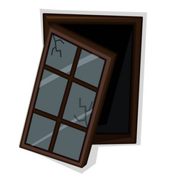 Wooden window with poor condition vector