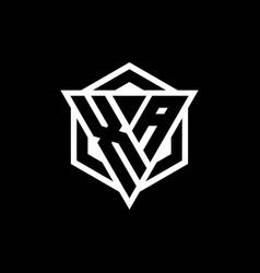 Xa logo monogram with triangle and hexagon shape vector