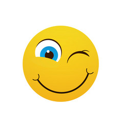 Yellow smiling cartoon face winking positive vector