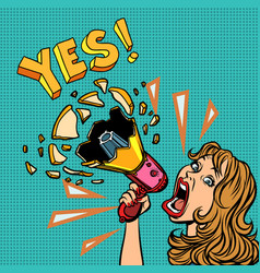 yes woman with megaphone advertising announcement vector image